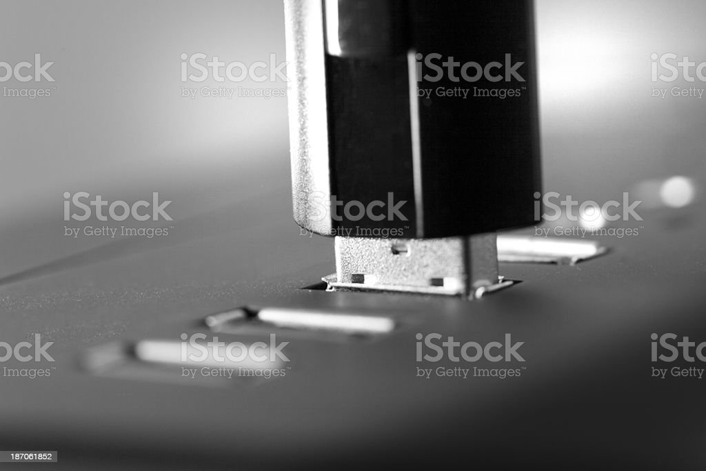 Pluged in USB Stick stock photo