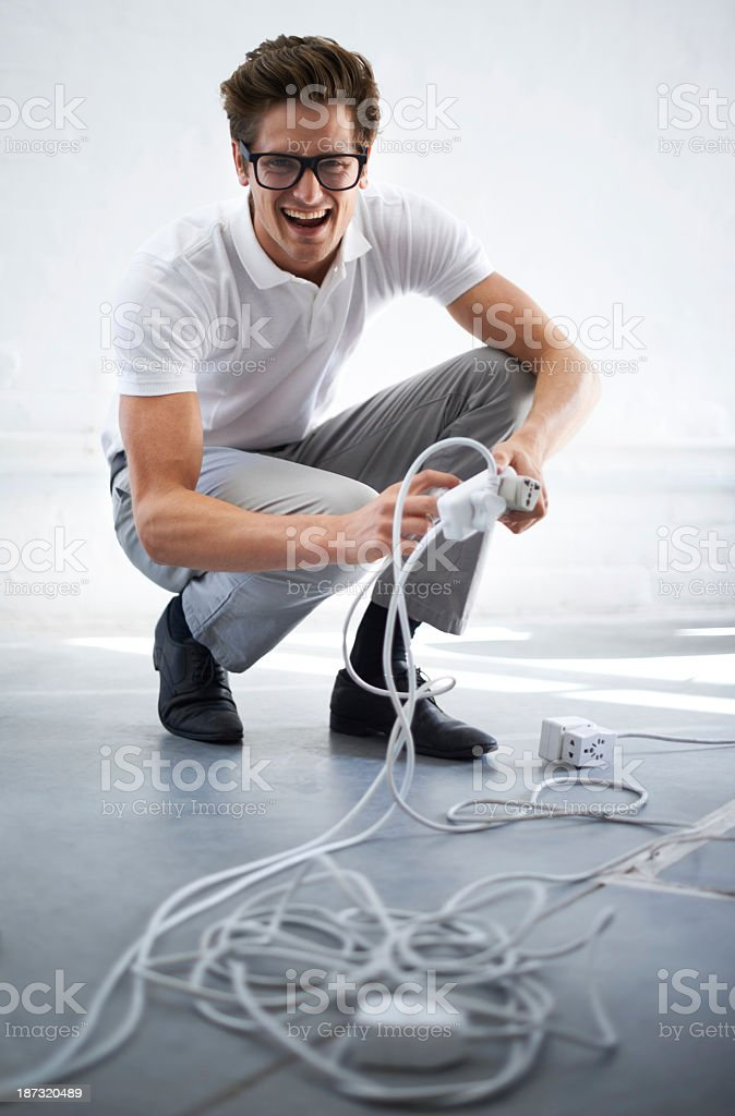 Plugging it in royalty-free stock photo