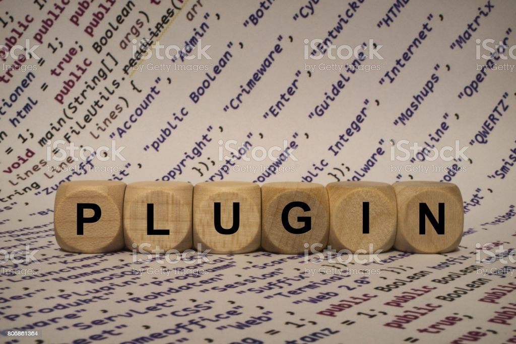 plugin - cube with letters and words from the computer, software, internet categories, wooden cubes stock photo