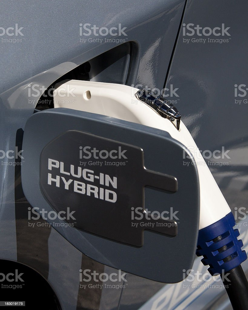 Plug-in Hybrid Car: Electrical Connection royalty-free stock photo