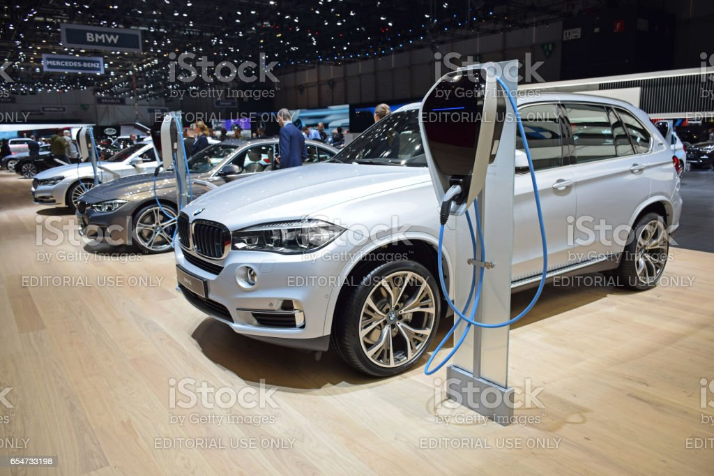 BMW plug-in hybrid vehicles on the charging points stock photo