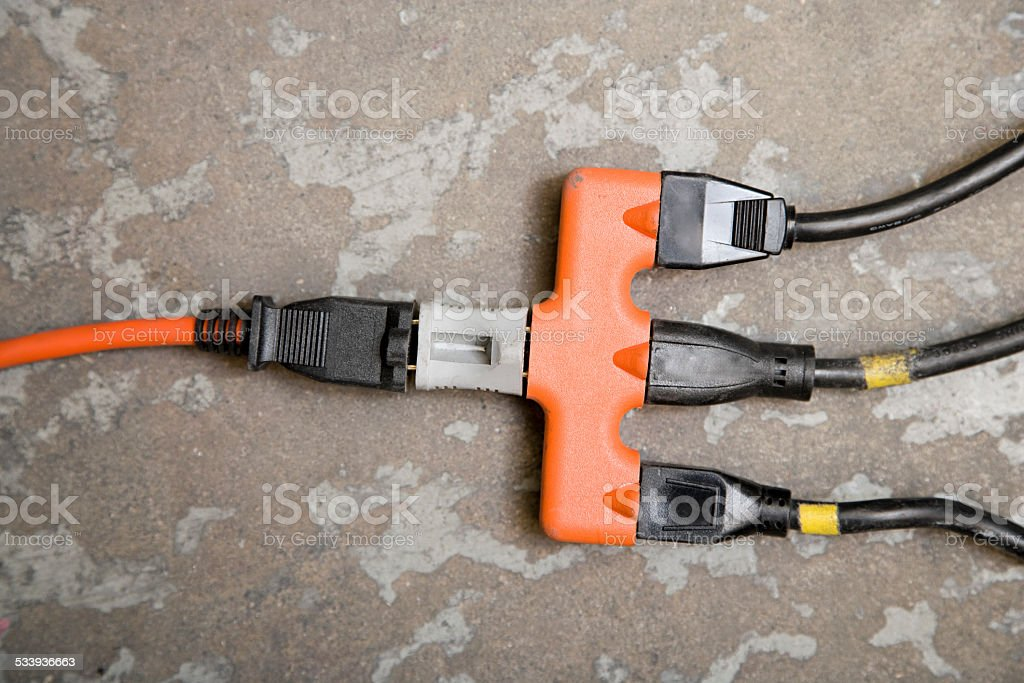 Plugs in extension cord stock photo
