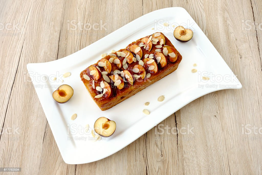 Plum and Almond Loaf Cake stock photo