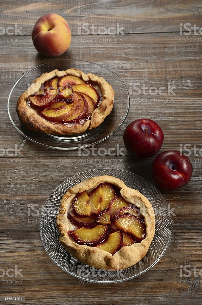 Plum and Peach Galettes stock photo
