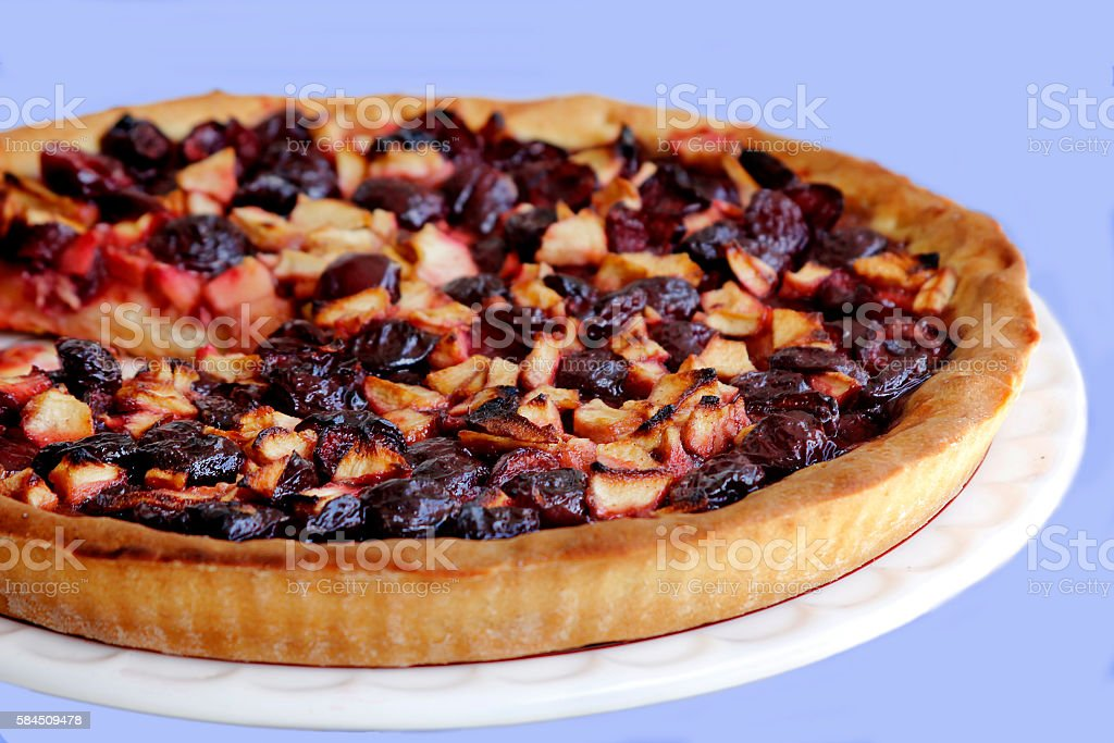 plum apple pie stock photo