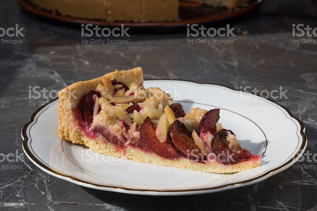 plum cake piece stock photo