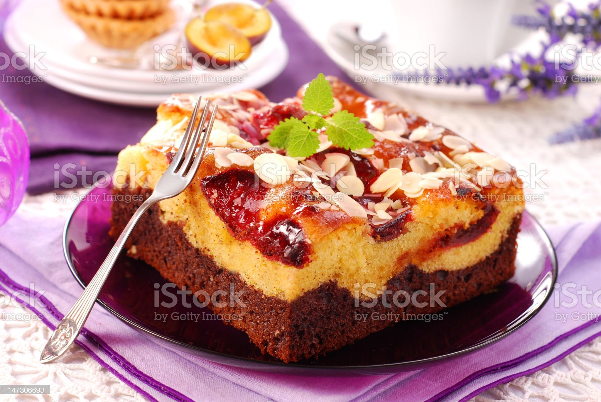plum cake with almonds royalty-free stock photo