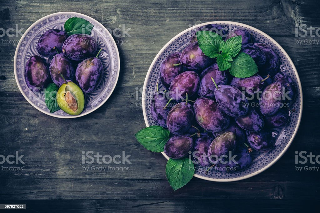 Plum in a dish stock photo