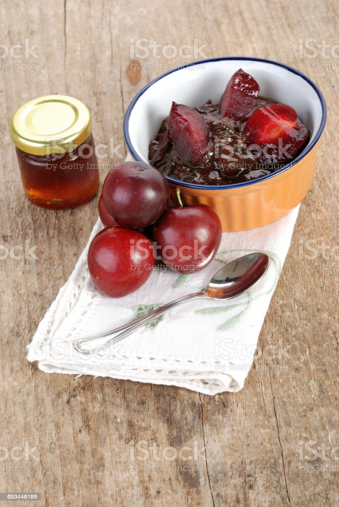 Plum jam stock photo