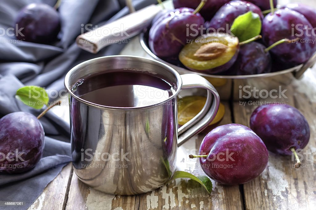 Plum juice stock photo