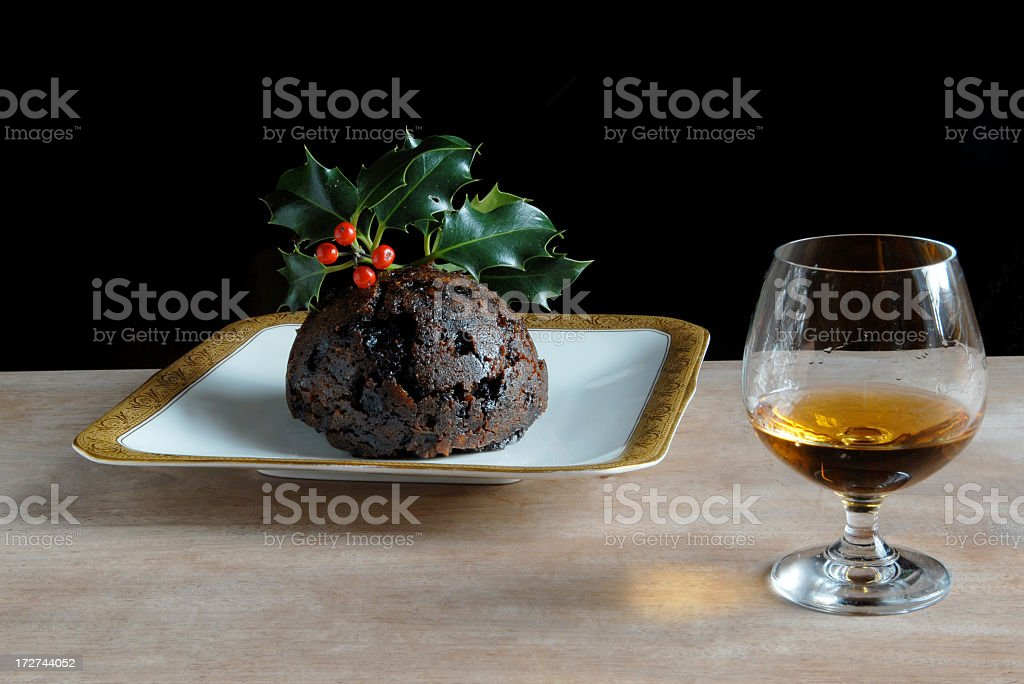 Plum Pudding and Brandy royalty-free stock photo