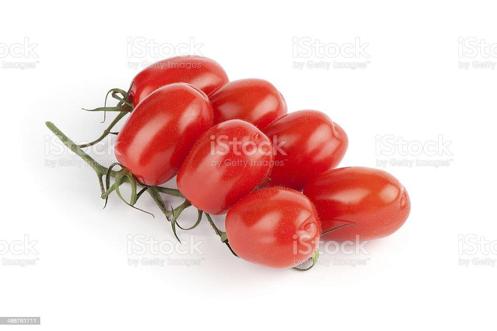 Plum tomatoes on white background stock photo