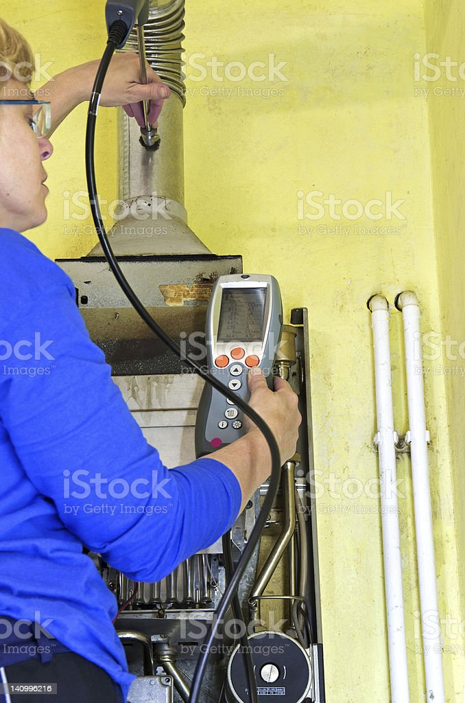 plumber and gas heating stock photo