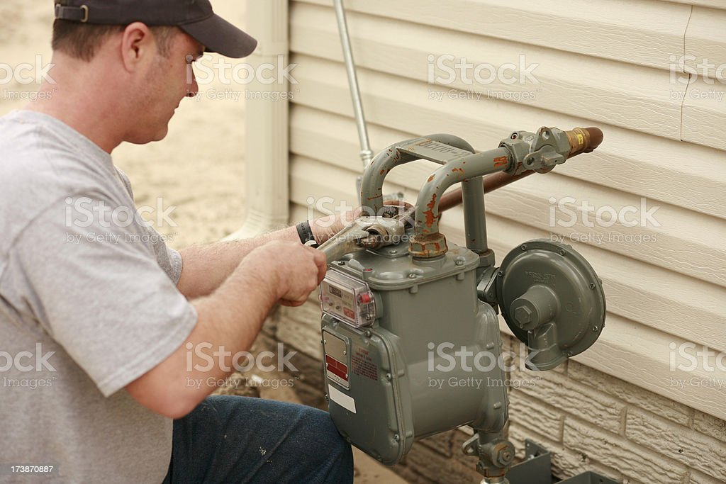 Plumber Repairing Water Pipe stock photo