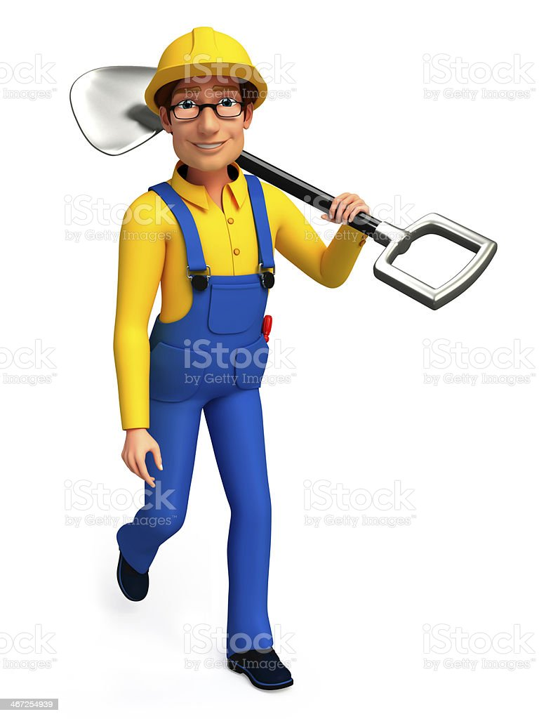 Plumber with spade royalty-free stock photo