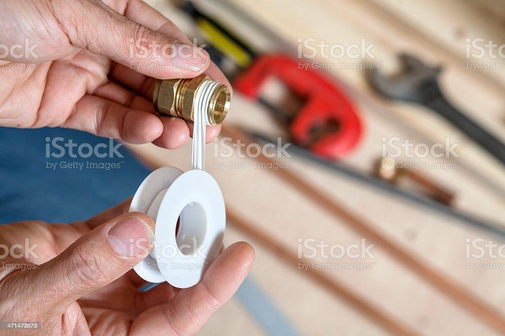 Plumbers Thread Tape stock photo