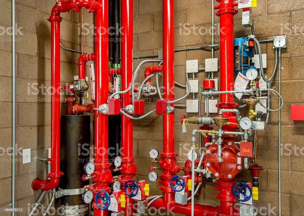 Plumbing for Fire Sprinkler Controls stock photo