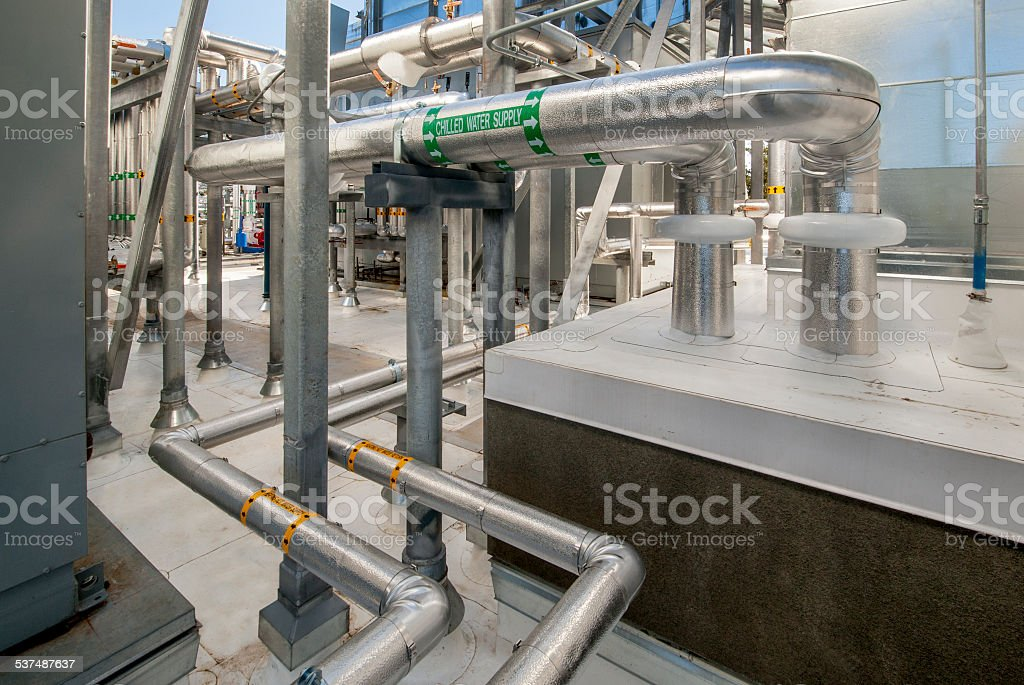 Plumbing for HVAC System stock photo