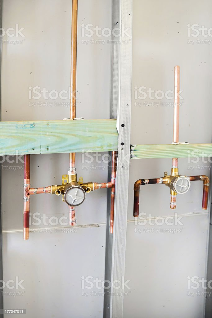 Plumbing for remodel of shower in home royalty-free stock photo