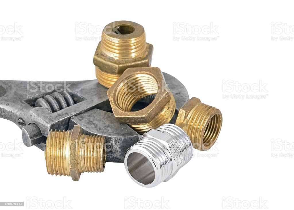 Plumbing pipe, valve and wrench royalty-free stock photo