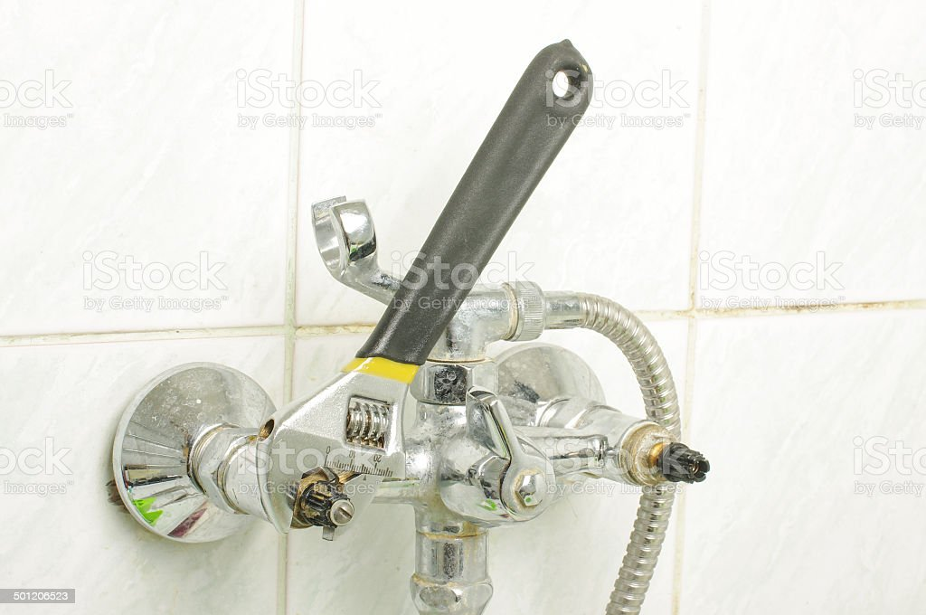 Plumbing process real situation royalty-free stock photo