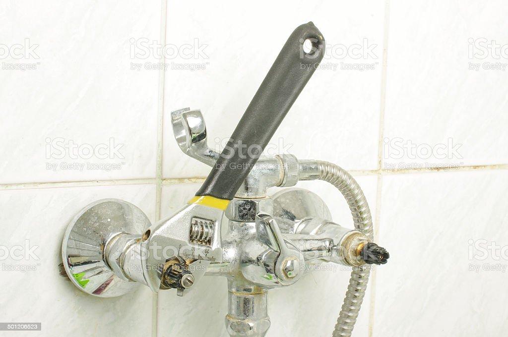 Plumbing process real situation stock photo