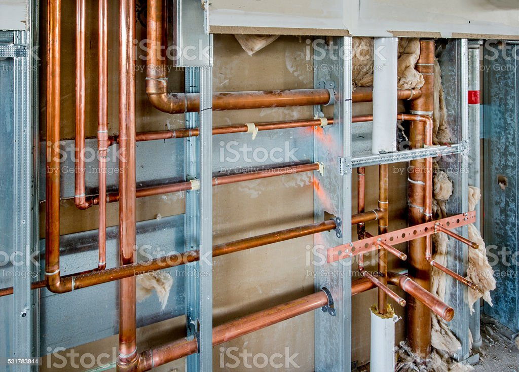 Plumbing Rough-in for Commercial Application. stock photo