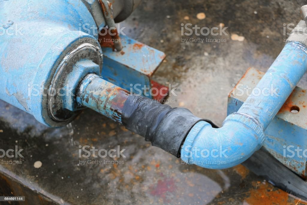 plumbing tube and water leak, steel rust industrial old tap pipe