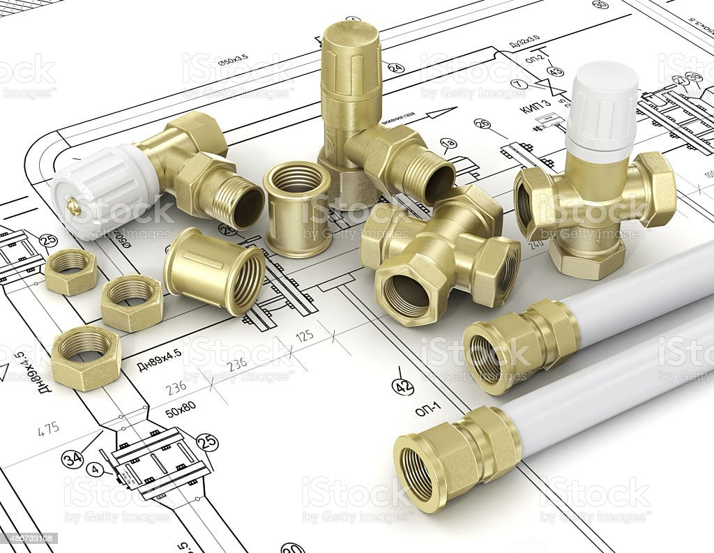 Plumbing valves and hoses stock photo