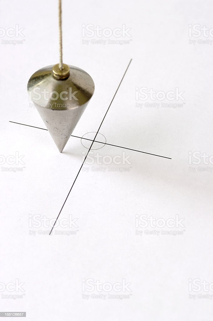 Plumbline Positioned Off Centre Of Cross Graphic stock photo