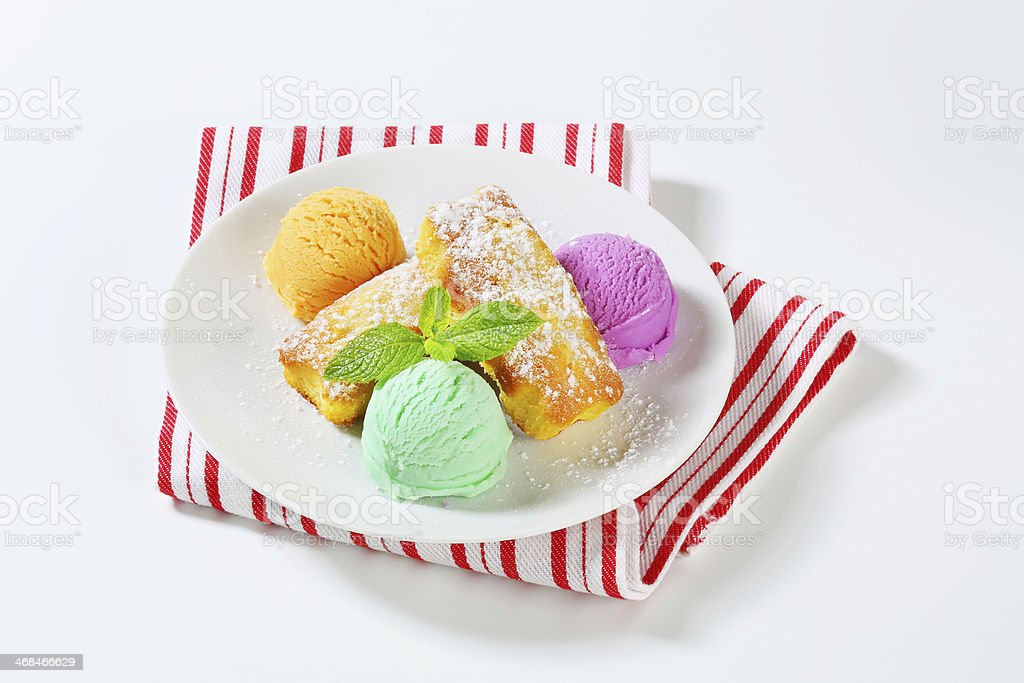 plumcakes and ice cream royalty-free stock photo