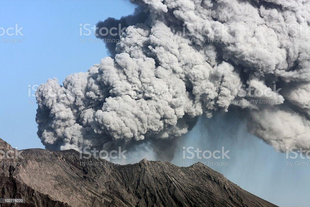 Plumes of smoke billowing out of Sakurajima volcano royalty-free stock photo