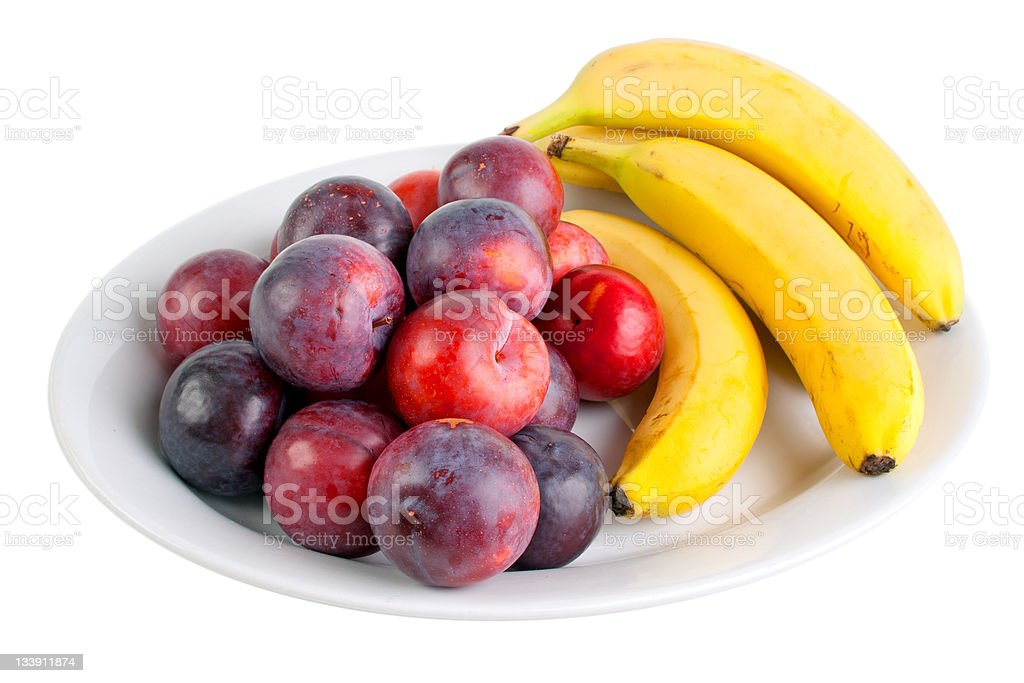 Plums and bananas royalty-free stock photo