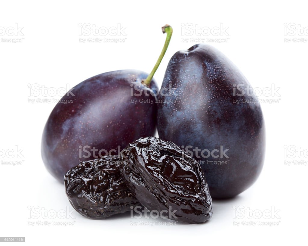 Plums and prunes stock photo