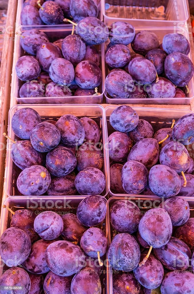 Plums At Roadside Stand In Michigan stock photo