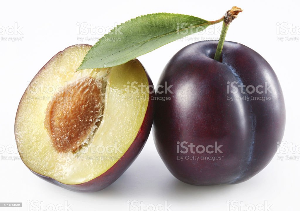 Plums on a white background royalty-free stock photo