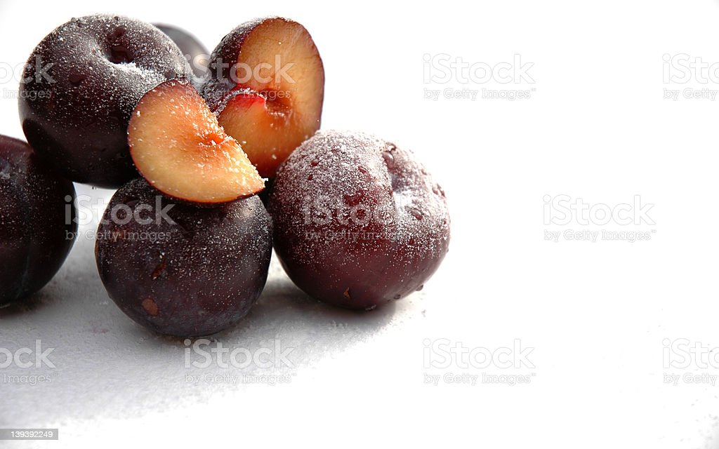 Plums on Sugar royalty-free stock photo