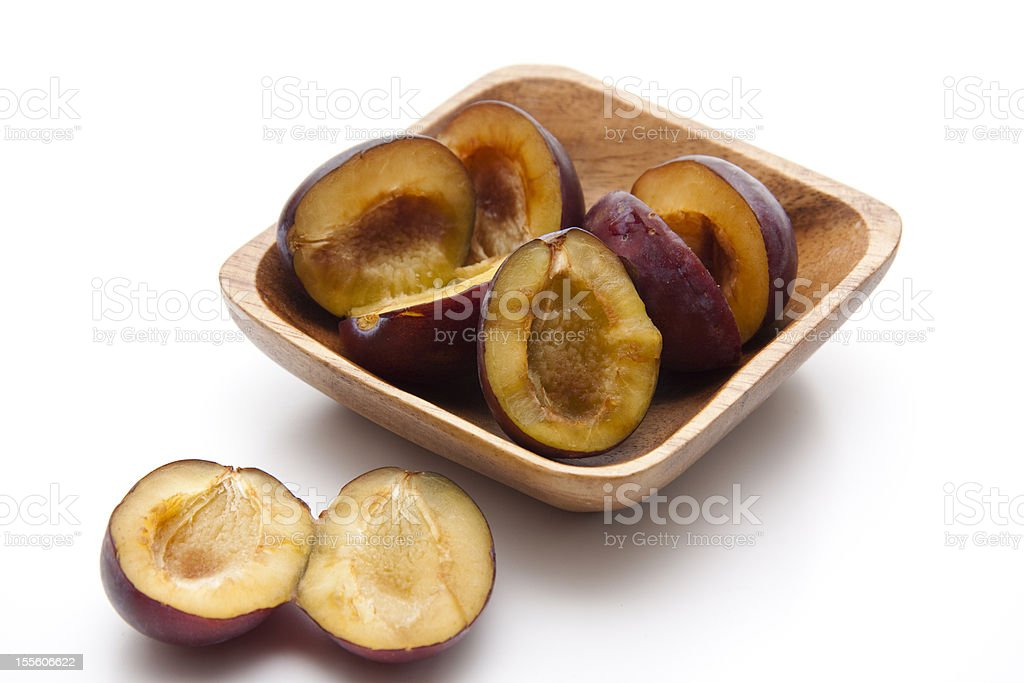 Plums without core stock photo