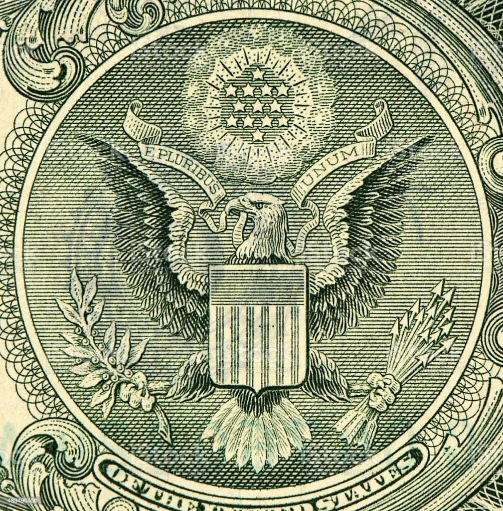 E Pluribus Unum Seal on the US Dollar Bill stock photo