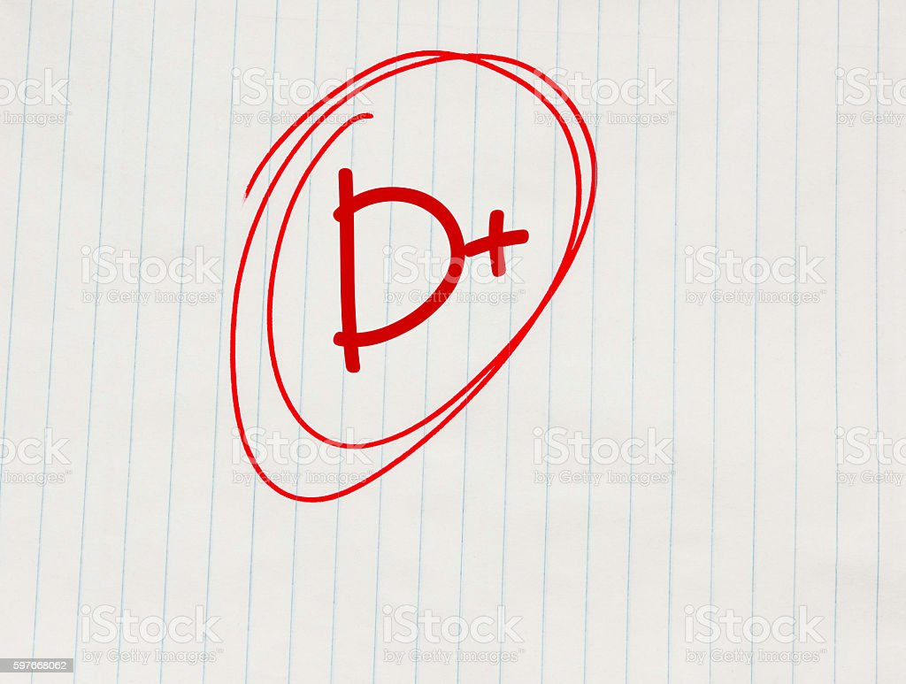 D plus (D+) grade written in red on notebook paper stock photo