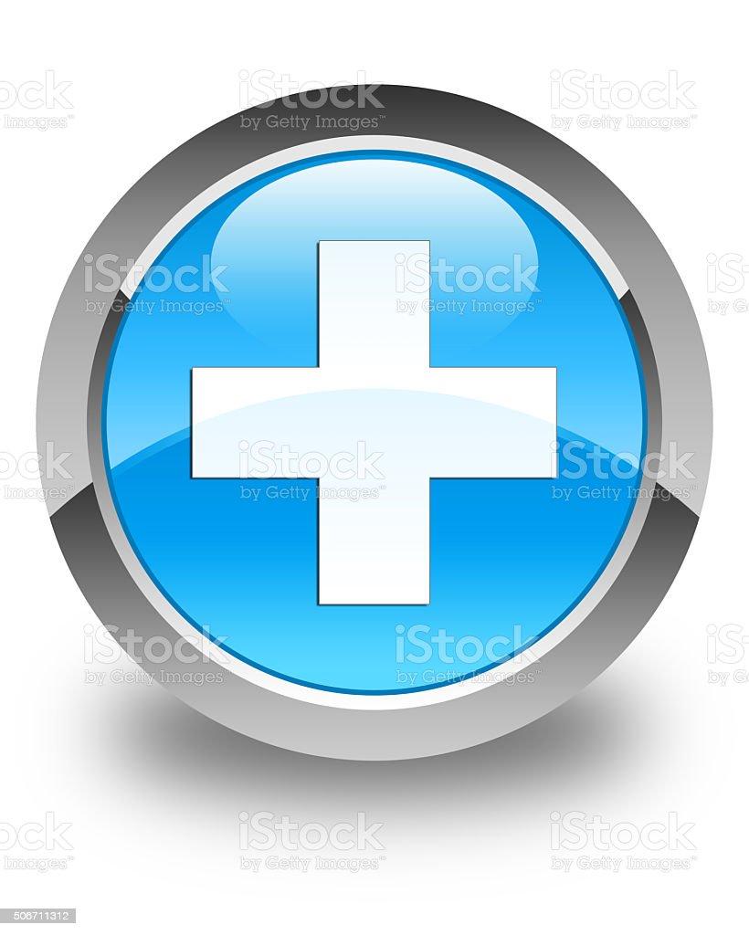 Plus icon glossy cyan blue round button stock photo