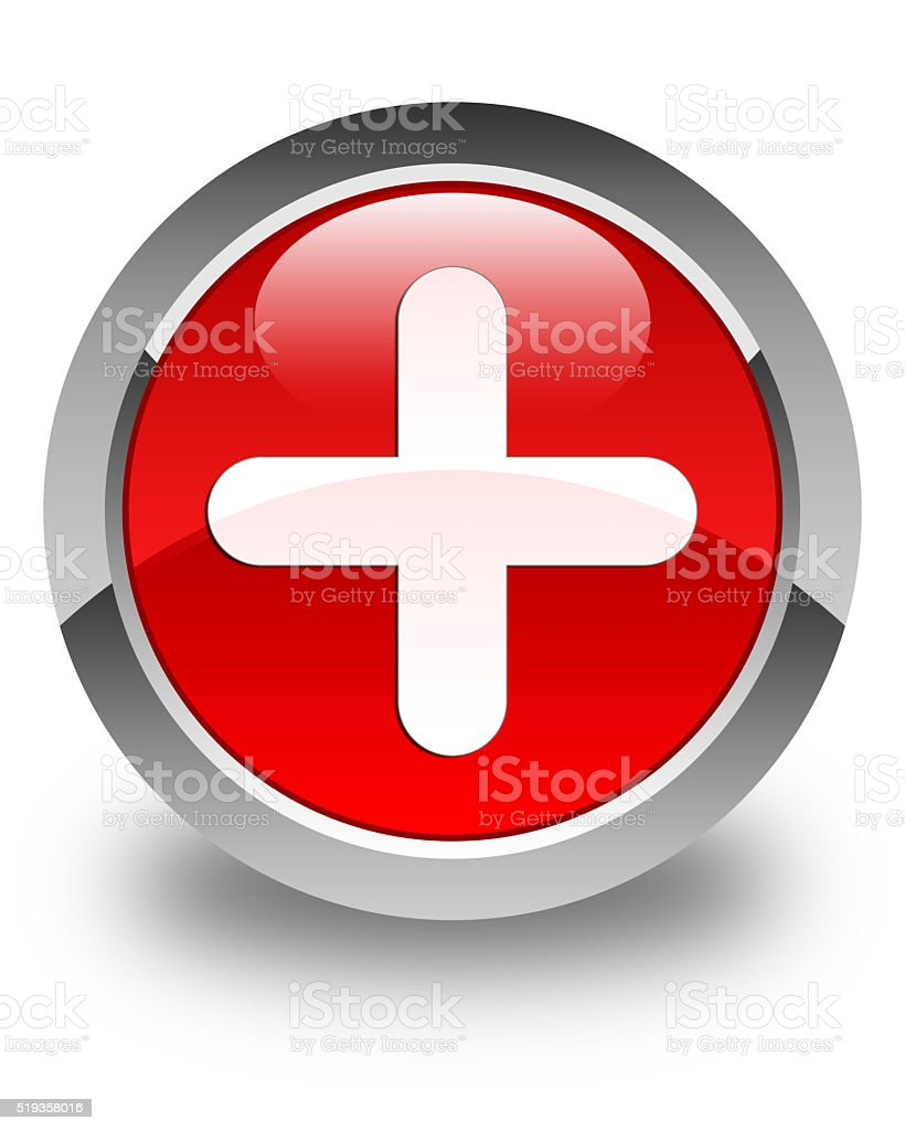 Plus icon glossy red round button stock photo