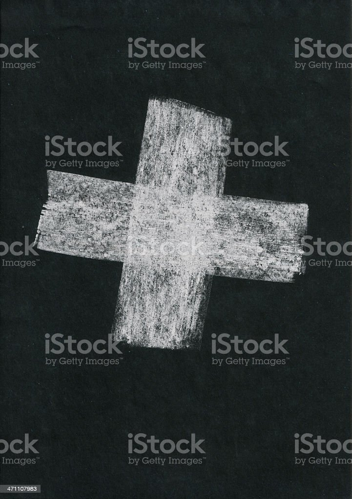 «Plus +» painted white chalk on black paper royalty-free stock photo