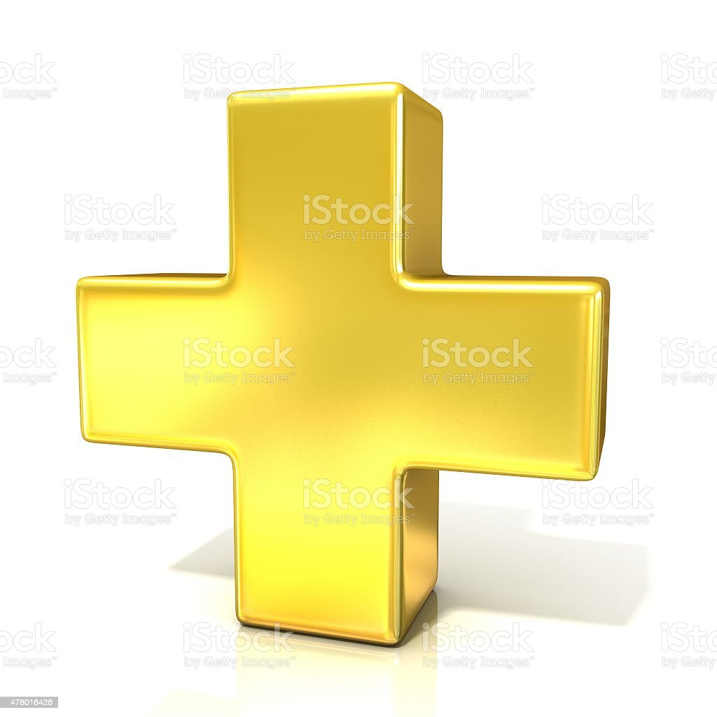 Plus sign, 3d golden sign isolated on white background stock photo