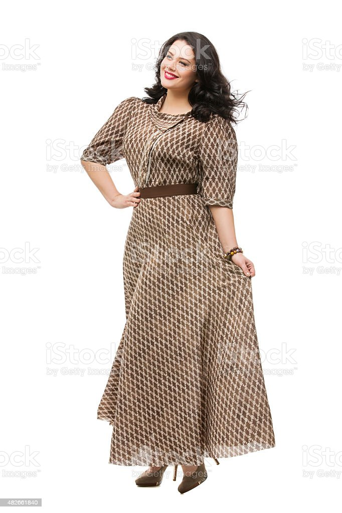 Plus size model in dress stock photo