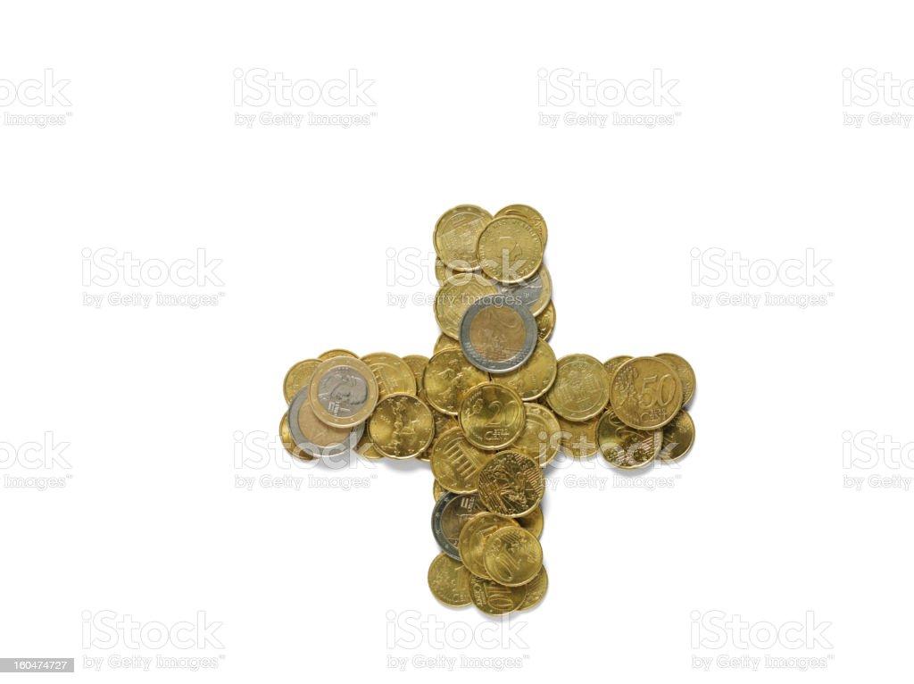 Plus Symbol in Euros royalty-free stock photo