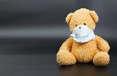 Plush teddy bear in a medical mask
