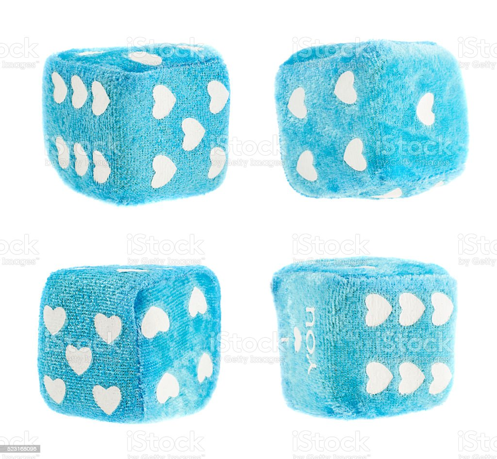 Plush toy dice isolated stock photo
