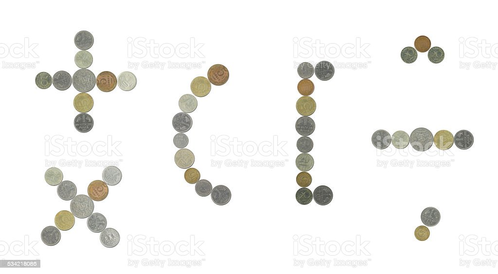 plus,minus,multiply,brackets and comma sign with old coins stock photo