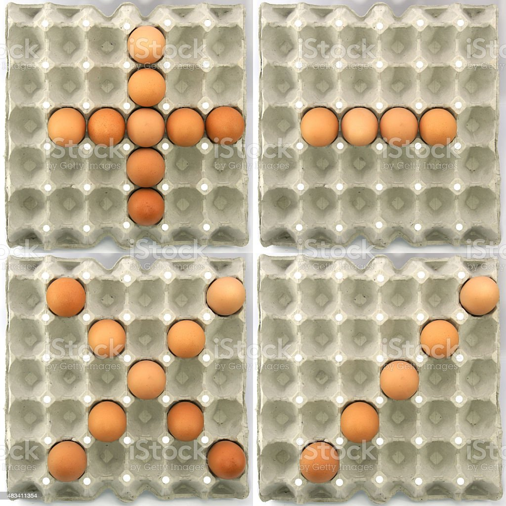 Plus-Minus-Multiply-Divide symbol s show by eggs stock photo